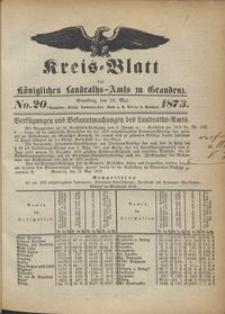Kreis Blatt des Königlichen Landraths-Amts zu Graudenz 1873.05.16 nr 20