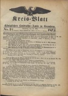 Kreis Blatt des Königlichen Landraths-Amts zu Graudenz 1873.05.23 nr 21