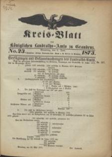 Kreis Blatt des Königlichen Landraths-Amts zu Graudenz 1873.06.06 nr 23
