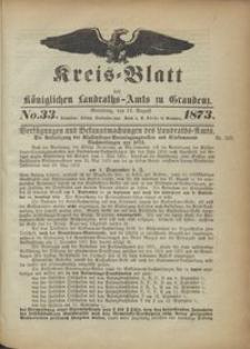 Kreis Blatt des Königlichen Landraths-Amts zu Graudenz 1873.08.16 nr 33