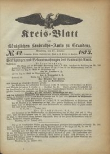 Kreis Blatt des Königlichen Landraths-Amts zu Graudenz 1873.10.17 nr 42