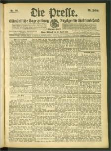 Die Presse 1907, Jg. 25, Nr. 89 Zweites Blatt + Beilagenwerbung