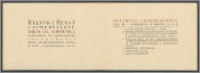 Rektor i Senat Uniwersytetu Mikołaja Kopernika zapraszają na uroczystość inauguracji roku akademickiego 1947/48 w dniu 11 października 1947 R.