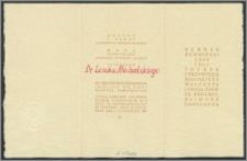Rektor Uniwersytetu Mikołaja Kopernika uprzejmie prosi Dr Leszka Michalskiego o wzięcie udziału w spotkaniu z Vice Premierem Eugeniuszem Szyrem [...] w dniu 29 III 1964 r. w Sali posiedzeń Senatu Coll. Maius [...].