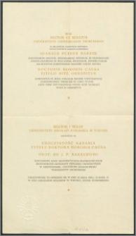 Rektor i Senat Uniwersytetu Mikołaja Kopernika zapraszają na na uroczystość nadania tytułu Doktora Honoris Causa Prof. Dr J. P. Bakker'owi [...] w dniu 16 maja 1964 r [...]