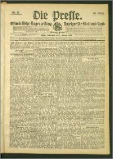 Die Presse 1908, Jg. 26, Nr. 27 Zweites Blatt