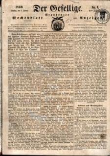 Der Der Gesellige : Graudenzer Wochenblatt und Anzeiger 1860.01.03 nr 1