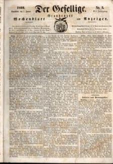 Der Gesellige : Graudenzer Wochenblatt und Anzeiger 1860.01.07 nr 3
