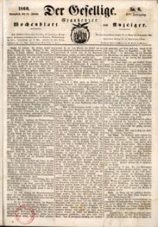 Der Gesellige : Graudenzer Wochenblatt und Anzeiger 1860.01.14 nr 6