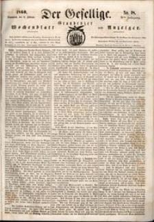Der Gesellige : Graudenzer Wochenblatt und Anzeiger 1860.02.11 nr 18