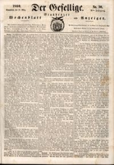 Der Gesellige : Graudenzer Wochenblatt und Anzeiger 1860.03.10 nr 30