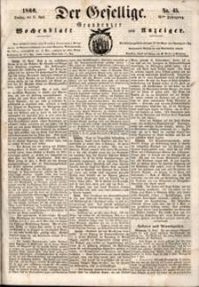 Der Gesellige : Graudenzer Wochenblatt und Anzeiger 1860.04.17 nr 45