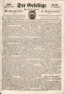 Der Gesellige : Graudenzer Wochenblatt und Anzeiger 1860.04.24 nr 48