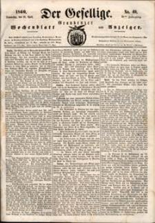 Der Gesellige : Graudenzer Wochenblatt und Anzeiger 1860.04.26 nr 49