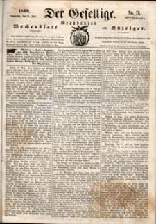 Der Gesellige : Graudenzer Wochenblatt und Anzeiger 1860.06.21 nr 71