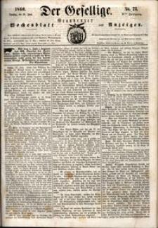 Der Gesellige : Graudenzer Wochenblatt und Anzeiger 1860.06.26 nr 73