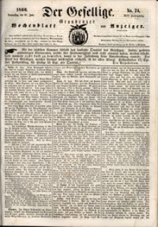 Der Gesellige : Graudenzer Wochenblatt und Anzeiger 1860.06.28 nr 74