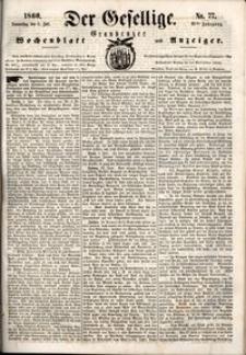 Der Gesellige : Graudenzer Wochenblatt und Anzeiger 1860.07.05 nr 77