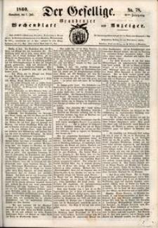 Der Gesellige : Graudenzer Wochenblatt und Anzeiger 1860.07.07 nr 78