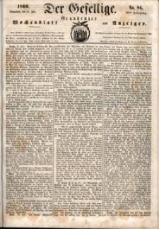 Der Gesellige : Graudenzer Wochenblatt und Anzeiger 1860.07.21 nr 84