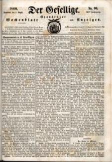 Der Gesellige : Graudenzer Wochenblatt und Anzeiger 1860.08.04 nr 90