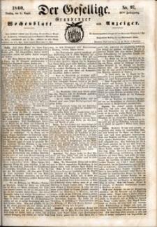 Der Gesellige : Graudenzer Wochenblatt und Anzeiger 1860.08.21 nr 97