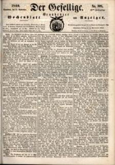 Der Gesellige : Graudenzer Wochenblatt und Anzeiger 1860.09.15 nr 108