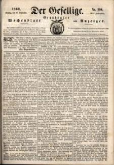 Der Gesellige : Graudenzer Wochenblatt und Anzeiger 1860.09.18 nr 109
