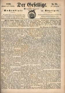 Der Gesellige : Graudenzer Wochenblatt und Anzeiger 1860.09.29 nr 114