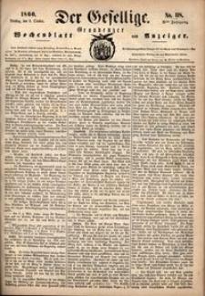 Der Gesellige : Graudenzer Wochenblatt und Anzeiger 1860.10.09 nr 118