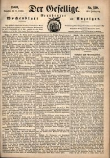 Der Gesellige : Graudenzer Wochenblatt und Anzeiger 1860.10.13 nr 120