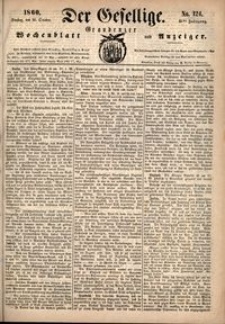 Der Gesellige : Graudenzer Wochenblatt und Anzeiger 1860.10.23 nr 124