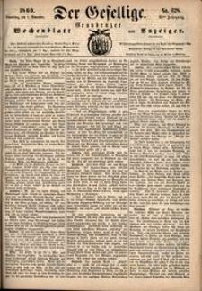 Der Gesellige : Graudenzer Wochenblatt und Anzeiger 1860.11.01 nr 128