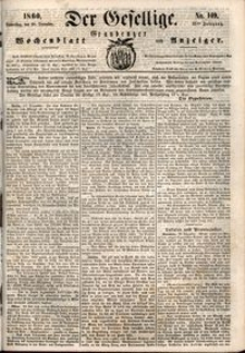 Der Gesellige : Graudenzer Wochenblatt und Anzeiger 1860.12.20 nr 149