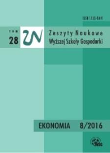 Zeszyty Naukowe Wyższej Szkoły Gospodarki w Bydgoszczy. T. 28 (2016), Ekonomia, Nr 8