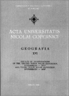 Acta Universitatis Nicolai Copernici. Nauki Matematyczno-Przyrodnicze. Geografia, z. 16 (51), 1982