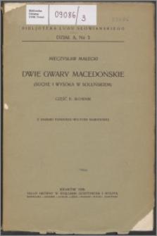 Dwie gwary macedońskie : (Suche i Wysoka w soluńskiem). Cz. 2, Słownik