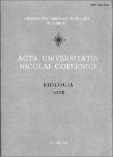Acta Universitatis Nicolai Copernici. Nauki Matematyczno-Przyrodnicze. Biologia, z. 27 (59), 1985