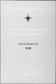 Acta Universitatis Nicolai Copernici. Nauki Matematyczno-Przyrodnicze. Geografia, z. 23 (76), 1991