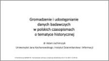 Gromadzenie i udostępnianie danych badawczych w polskich czasopismach o tematyce historycznej