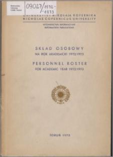 Skład Osobowy na rok akademicki 1972/1973 / Uniwersytet Mikołaja Kopernika w Toruniu