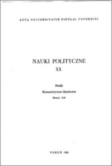 Acta Universitatis Nicolai Copernici. Nauki Humanistyczno-Społeczne. Nauki Polityczne, z. 20 (219), 1991