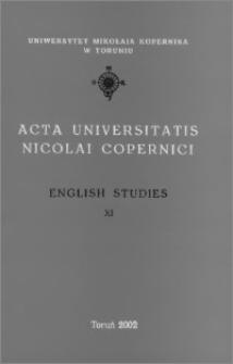 Acta Universitatis Nicolai Copernici. Humanities and Social Sciences. English Studies, z. 11 (352), 2002