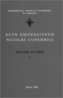 Acta Universitatis Nicolai Copernici. Humanities and Social Sciences. English Studies, z. 10 (345), 2001