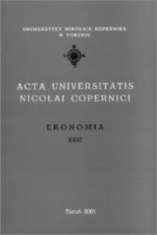 Acta Universitatis Nicolai Copernici. Nauki Humanistyczno-Społeczne. Ekonomia, z. 31 (346), 2001