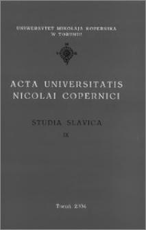 Acta Universitatis Nicolai Copernici. Nauki Humanistyczno-Społeczne. Studia Slavica, z. 9 (364), 2004