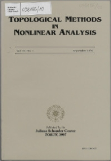 Topological Methods in Nonlinear Analysis, Vol. 10 no 1, (1997)