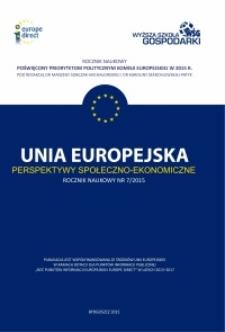 Unia Europejska - Perspektywy Społeczno-Ekonomiczne, Nr 1(7)/2015