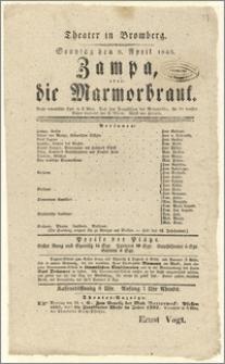[Afisz:] Zampa, oder Die Marmorbraut. Große romantische Oper in 3 Akten