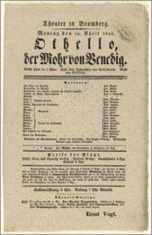 [Afisz:] Othello, der Mohr von Venedig. Grosse Oper in drei Akten nach dem Italienischen von Chr. Grünbaum